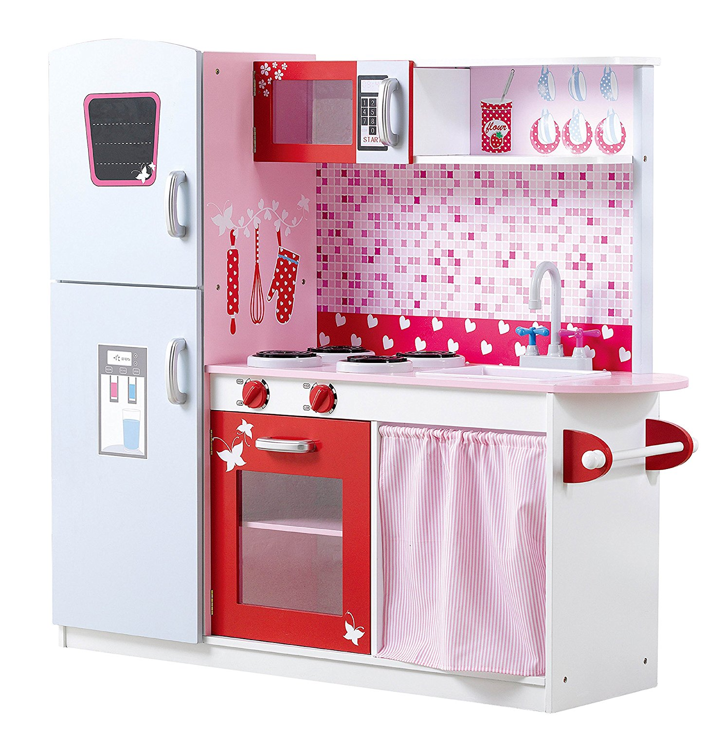 girls large pink wooden play kitchen - children's pretend role